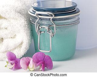 Biological Skin Peeling - close-up of jar with Peeling
