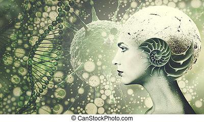 biologically, modificado, organismo, ciencia, y, educación, plano de fondo, con, cara humana