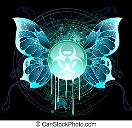biologico, simbolo, bandiera, rotondo, pericolo