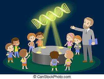 biologie, begriff, gruppe, zentrieren, leute, molekül, museum, -, schule, schauen, zukunft, kinder, lernen, innovation, elementar, lektion, erziehung technologie, hologramm, dna.