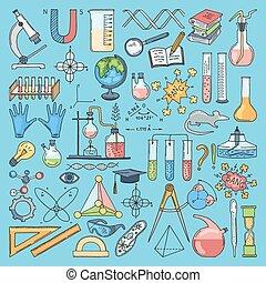 biologie, coloré, articles, chemical., vecteur, science, illustrations, dessiné, main