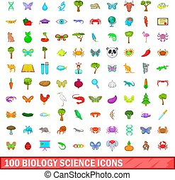 biologie, iconen, set, wetenschap, stijl, honderd, spotprent