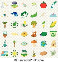 biologie, iconen, set, wetenschap, stijl, spotprent