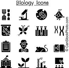 biologie, satz, ikone
