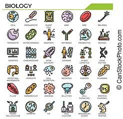biologie, set., ikone, wissenschaft