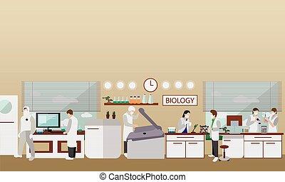 biologie, vector, illustration., werkende , wetenschap,...