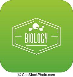 biologie, vektor, grün, ikone