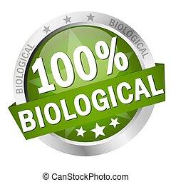 biologique, bouton, bannière, 100%