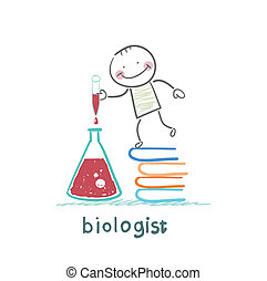 biologist holding a test tube and stands on a pile of books