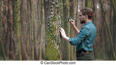 Biologist studying plants with magnifying glass at forest