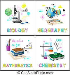 Biology and Geography Set Vector Illustration