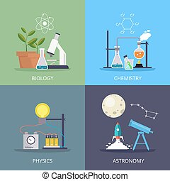 biology and physics, chemistry and astronomy design element...
