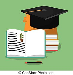 biology books hat graduation