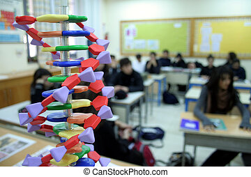 Biology classroom with DNA spiral
