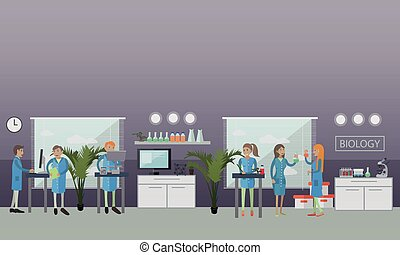 Biology concept vector illustration in flat style