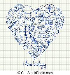 Biology drawings in heart shape - Illustration of biology...