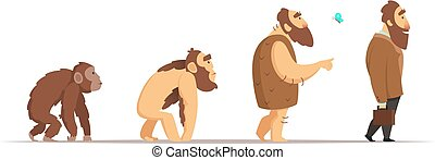 Biology evolution of homo sapiens. Vector characters in cartoon style