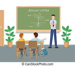 Biology lesson flat vector illustration. Young male teacher...