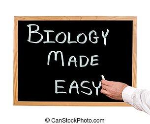 Biology made easy is written in chalk on a chalkboard.