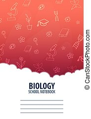 Biology School Notebook template. Back to School background. Education banner.