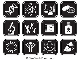 Biology science icons - set of black and white molecular...