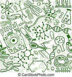 Seamless pattern background - illustration of biology drawings, doodle style