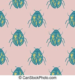 Biology seamless pattern with blue folk bugs ornament. Wildlife stylized print with light pink background.