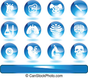 Biology Shiny Round Icon Set - Medical themed buttons.