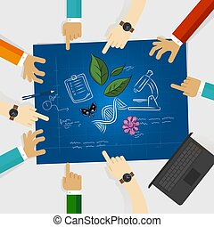 biology study leaf DNA microscope scribble doodle science hand drawing research collaboration in laboratory working together