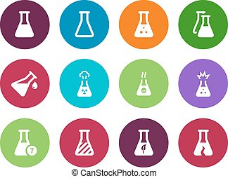 Biology tube circle icons on white background. Vector...