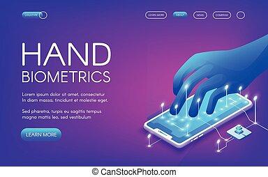 biométrie, vecteur, illustration technologie, main