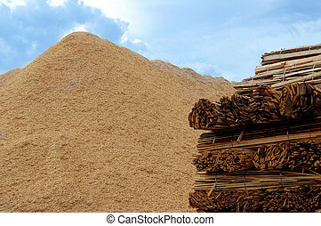 Biomass combustion - Wooden boards and wood chips for...