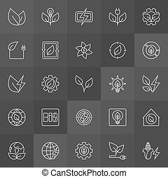 Biomass energy icons. Vector collection of bioenergy and...