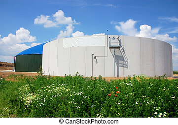 Biomass energy plant construction site with silo