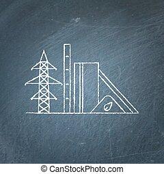 Biomass power station chalkboard sketch - Biomass recycling...