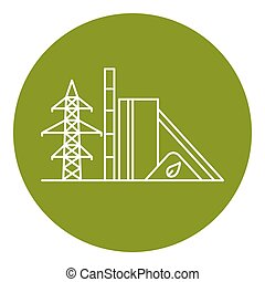 Biomass power station icon in thin line style - Biomass...
