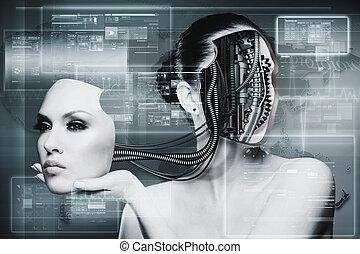 biomechanical, 여자, 떼어내다, 미래다, 배경, 치고는, 너의, 디자인