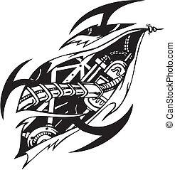 Biomechanical Designs - vector illustration - Tattoo design...