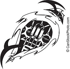 Tattoo design in biomechanical style. Vinyl-ready.
