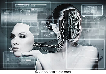 biomechanical, nő, elvont, futuristic, háttér, helyett, -e,...