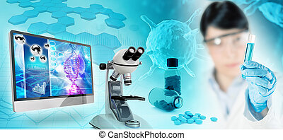 biomedical research abstract background, 3D illustration