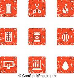 Biomedical science icons set, grunge style