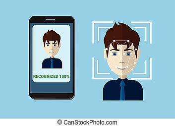 biometric, 掃描, 系統, ......的, 控制, 保護, 聰明, 電話, 掃描, 用戶, 臉, 面部,...