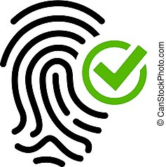 Biometric access granted vector icon on white background