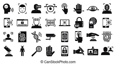 Biometric authentication icons set, simple style