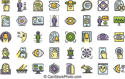 Biometric authentication icons vector flat
