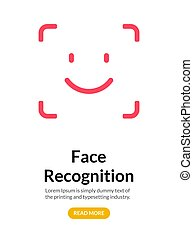 Biometric face recognition on smartphone. Facial scan security system technology. Face authentication identification