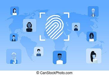 biometric fingerprint security data protection access future computer technology user identification concept world map background flat horizontal
