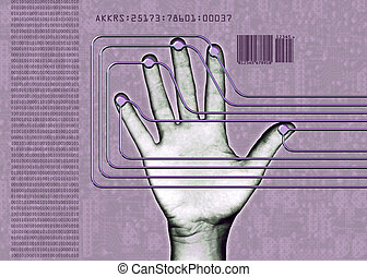biometric hand - human hand undergoing a biomentric scan, or...