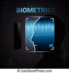Biometric Identification Male Face Scanning Modern Access...